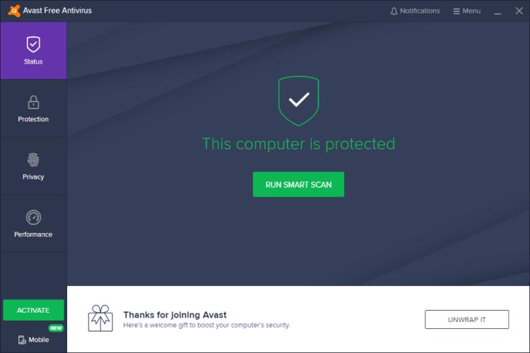 Avast Free Antivirus, Hauptbildschirm.
