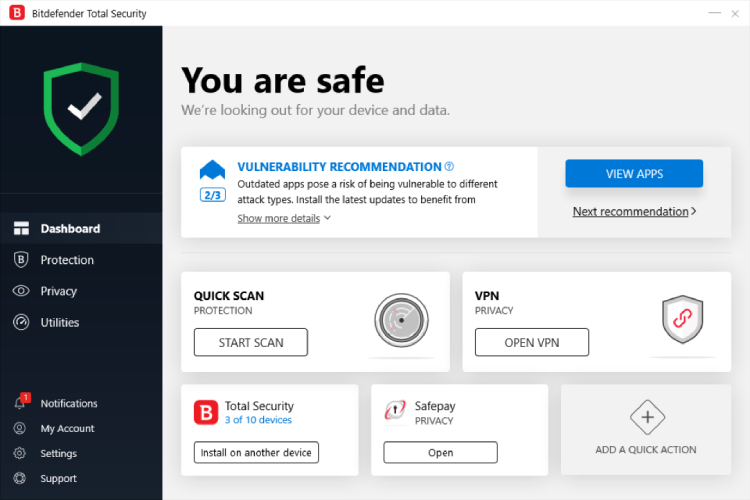 Hauptbildschirm von Bitdefender Totale Sicherheit.