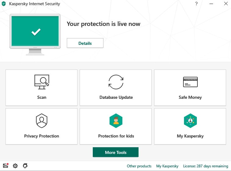 Kaspersky Internet Security, Schnittstelle von Kaspersky Lab.