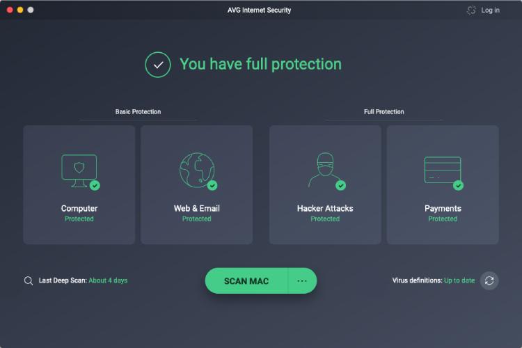 AVG für Mac, Benutzeroberfläche.