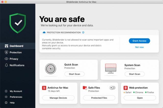 Bitdefender für Mac, Schnittstelle.