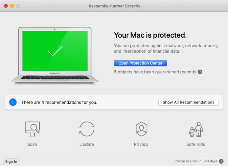 Kaspersky für Mac, Schnittstelle.