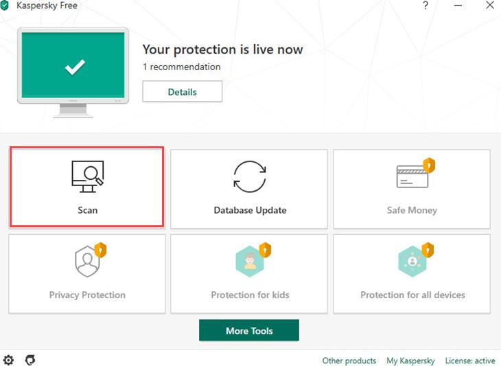 Kostenloses Dashboard von Kaspersky Antivirus.