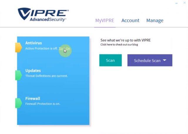 Vipre Internet-Sicherheitsüberprüfungen