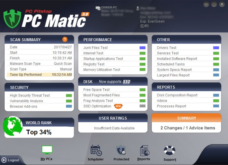 PC Matic-Merkmale.