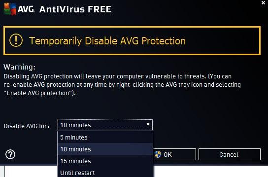 AVG vorübergehend deaktivieren