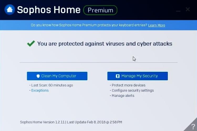 Sophos Premium-Schnittstelle