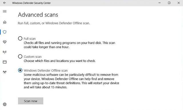 Microsoft Antivirus: Windows Defender-Sicherheitscenter