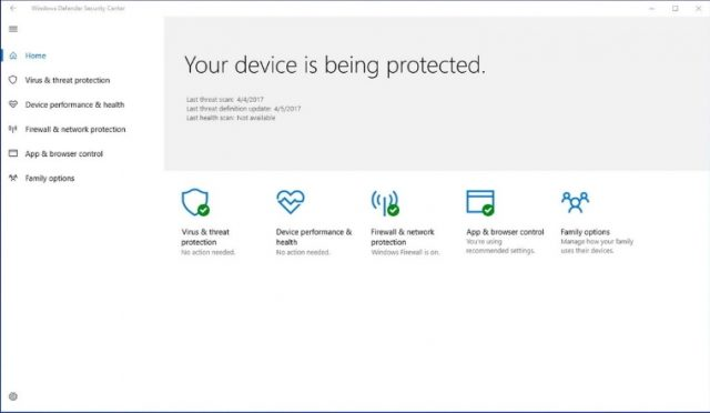 Windows Defender-Sicherheitscenter.