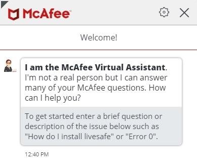 Virtueller Assistent von McAfee
