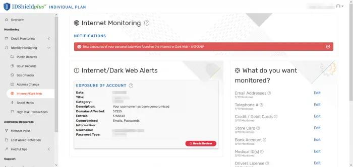 ID-Schutzschild, bester Schutz vor Identitätsdiebstahl, Dark-Web-Warnungen.