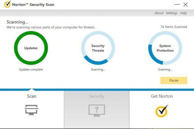 Norton-Scan, Malware-Schutz, Systemleistung