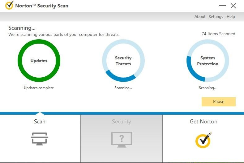 Norton-Virenscan, Malware-Schutz, Systemleistung.