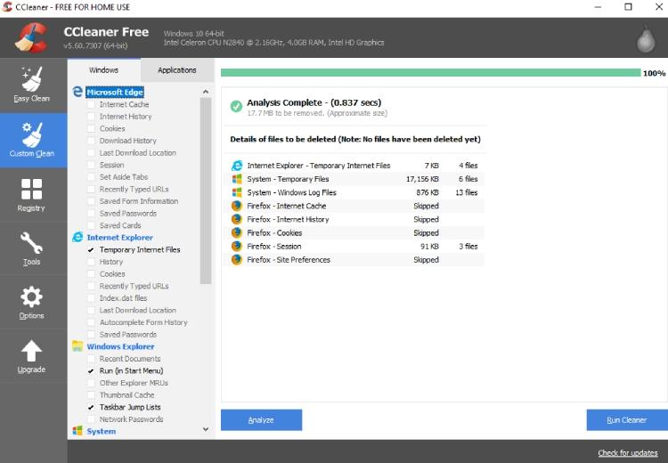 CCleaner Junk-Dateien reinigen.