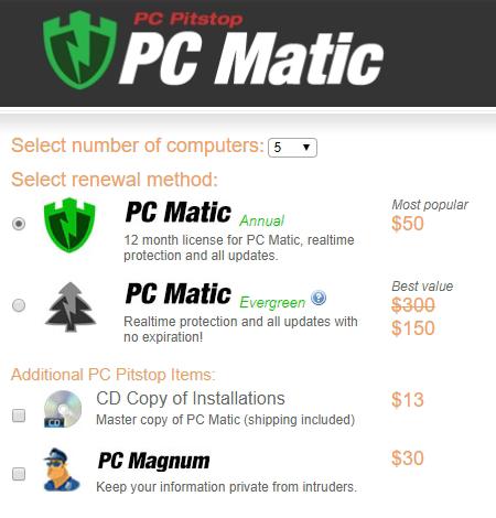 Preise für PC Matic Antivirus.