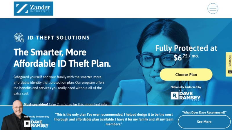 Zander Insurance ID Protection Website und Funktionen.