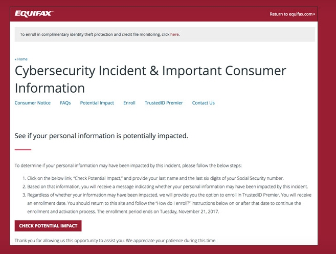 Equifax-Betrugswarnung.