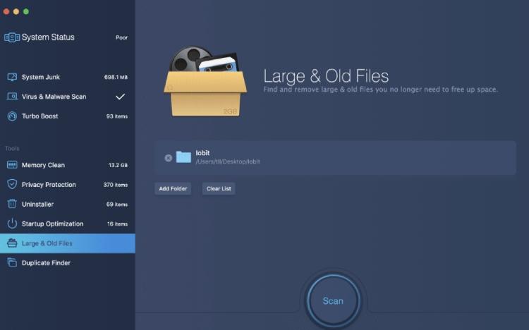 Große und alte MacBooster-Dateien.