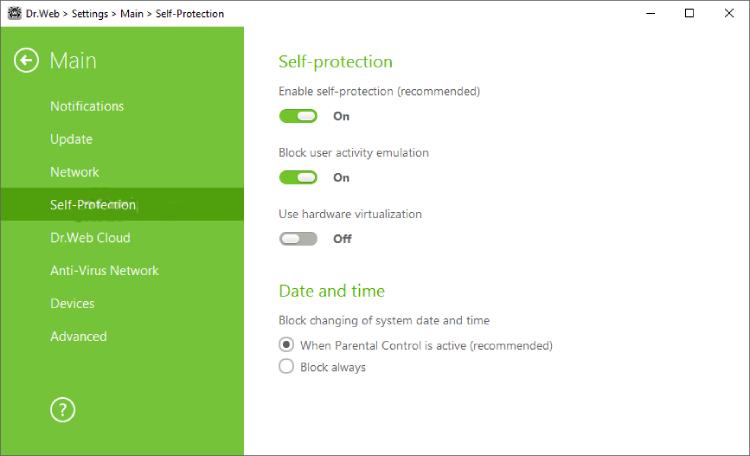 Dr.Web Web-Sicherheitsraum Bildschirm.